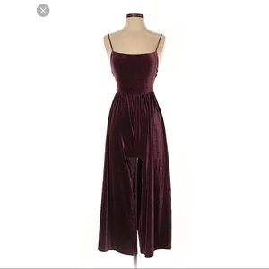 Maroon velvet/suede urban outfitters jumpsuit